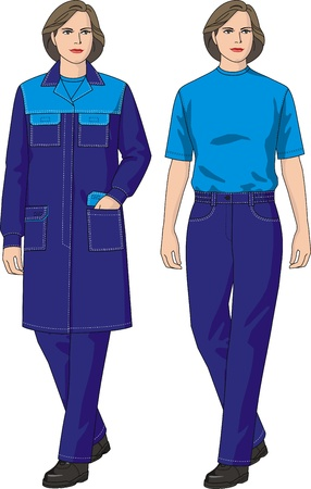 protective gown: The complete set of clothes for the woman consists of a dressing gown and trousers