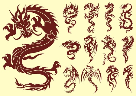 Several types of stylized dragons for tattoos