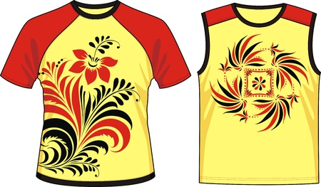 Two kinds of T-shirts with the image of the stylized plants Stock Vector - 11967234