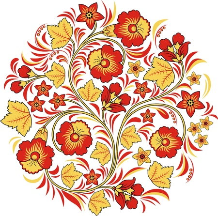 De gestileerde patroon in de vorm van kleuren en planten