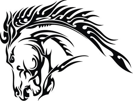 caballos negros: La imagen estilizada de una cabeza de un caballo para un tatuaje
