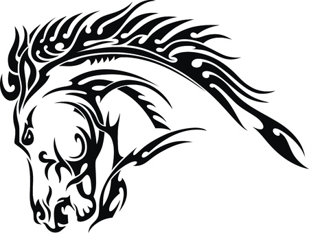 black horses: The stylized image of a head of a horse for a tattoo