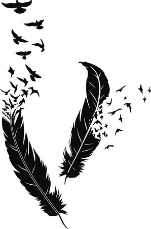tatuaje de aves: Dos plumas estilizadas con la dispersi�n de las aves en forma de un tatuaje