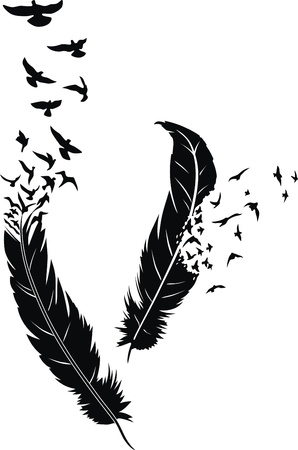 black bird: Two stylized feathers with scattering birds in the form of a tattoo