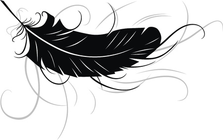black feather: The stylized feather in the form of a tattoo Illustration