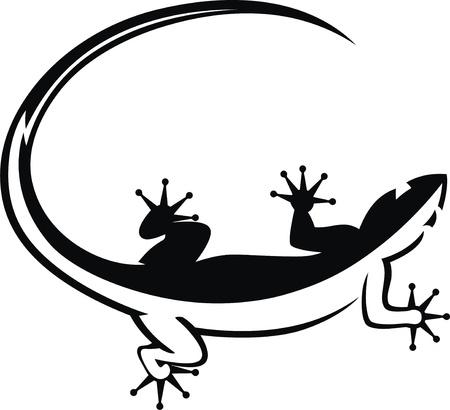 jaszczurka: Stylizowany wizerunek jaszczurki w formie tatuażu Ilustracja
