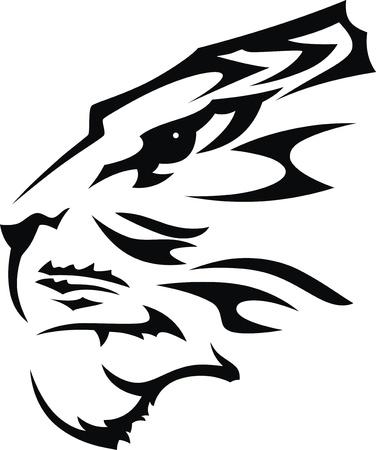 De gestileerde snuit van een tijger in de vorm van een tatoeage Stock Illustratie