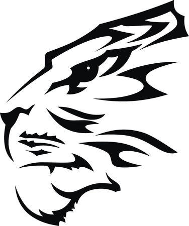 The stylized muzzle of a tiger in the form of a tattoo