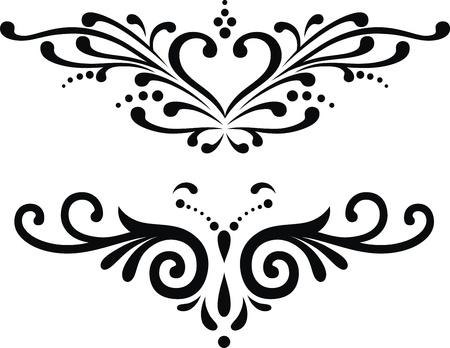 tatouage papillon: Deux variantes de tatouages ??en forme de coeur stylis� Illustration