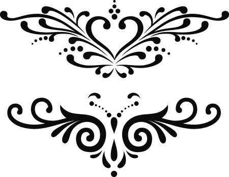 heart wings: Two variants of tattoos in the form of the stylized heart