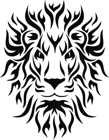 Head of a lion in the form of the stylised tattoo