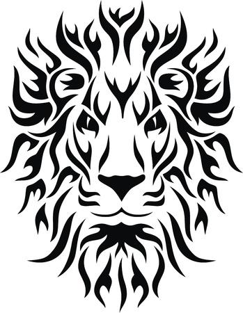 Hoofd van een leeuw in de vorm van een gestileerde tattoo Stock Illustratie
