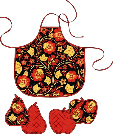 outset: Apron and accessories from a fabric with a traditional Russian ornament