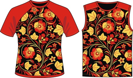 Two kinds of T-shirts with a traditional Russian ornament Stock Vector - 12164253