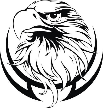 양식에 일치시키는 문신의 형태로 독수리의 머리