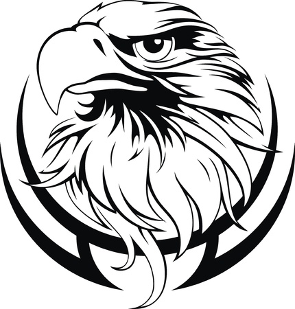 eagle head: Head of an eagle in the form of the stylized tattoo