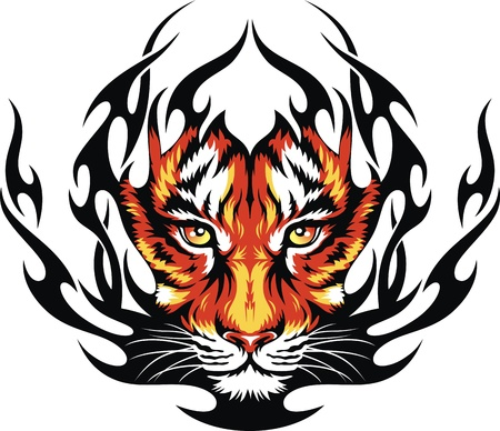 Head of a tiger in tongues of flame in the form of a tattoo