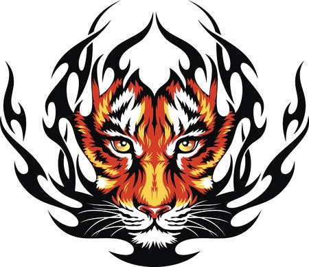 Hoofd van een tijger in tongen van vuur in de vorm van een tatoeage