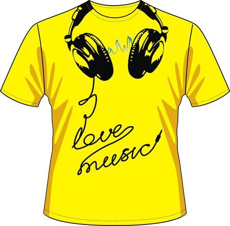 T-shirt met tekening in de vorm van het oor-telefoons en een draad