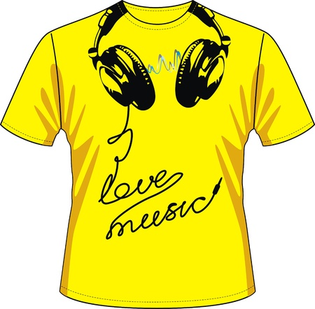 T-shirt with drawing in the form of ear-phones and a wire Stock Vector - 12454561