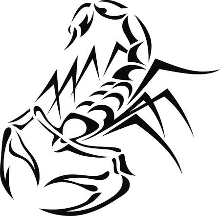 sting: Tattoo in the form of the stylized scorpion Illustration