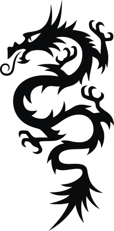 dragon tattoo: The stylized dragon in the form of a tattoo