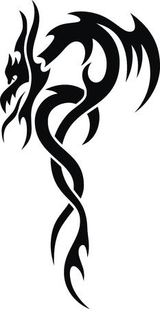 tatouage dragon: Le dragon stylisé sous la forme d'un tatouage Illustration