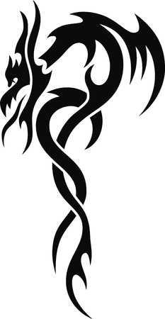 The stylized dragon in the form of a tattoo Stock Vector - 12454566