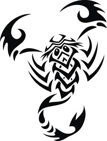 Tatuaje en forma de escorpión de la estilizada