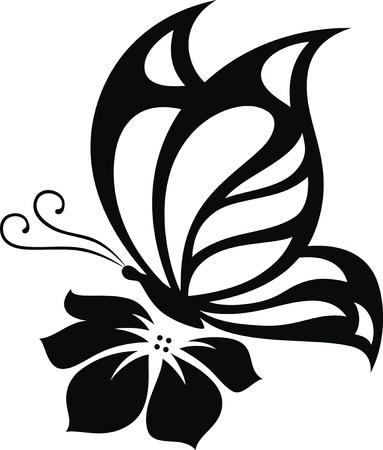 tatouage fleur: L'image stylisée du papillon sous la forme d'un tatouage Illustration