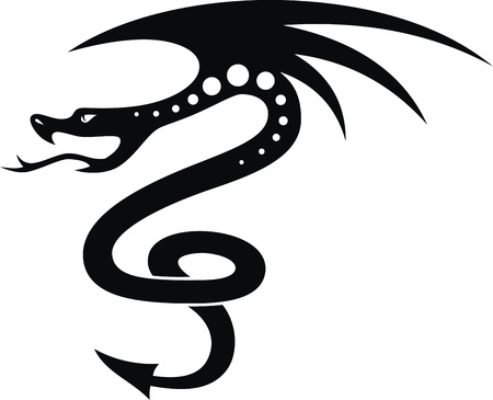 The stylized dragon in the form of a tattoo Stock Vector - 12454564