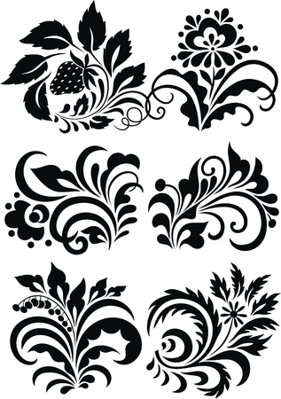The stylized pattern in the form of colors and plants
