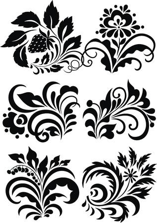 색상과 식물의 형태로 양식에 일치시키는 패턴 스톡 콘텐츠 - 12454581