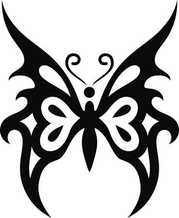 The stylized image of the butterfly in the form of a tattoo Stock Vector - 12454587