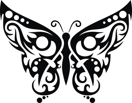 The stylized image of the butterfly in the form of a tattoo Stock Vector - 12454588