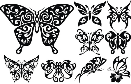 The stylized image of the butterfly in the form of a tattoo Stock Vector - 12454590