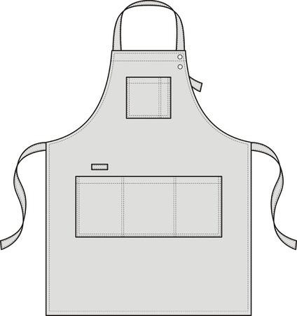 delantal: Delantal con bolsillos, una correa para el hombro y un cinturón