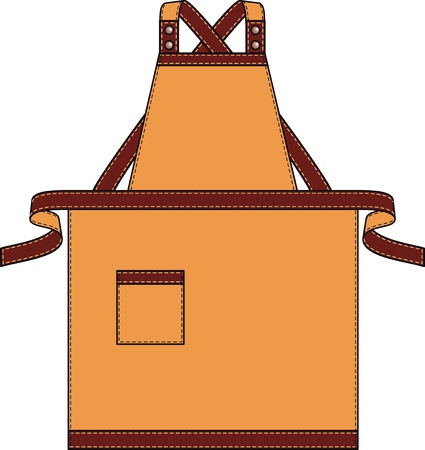 Apron with pockets, a shoulder strap and a belt Vector