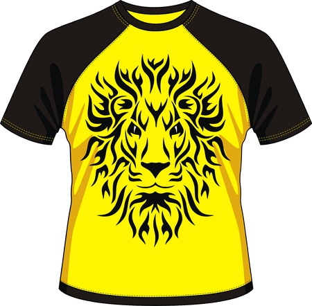 T-shirt with drawing in the form of a head of a lion