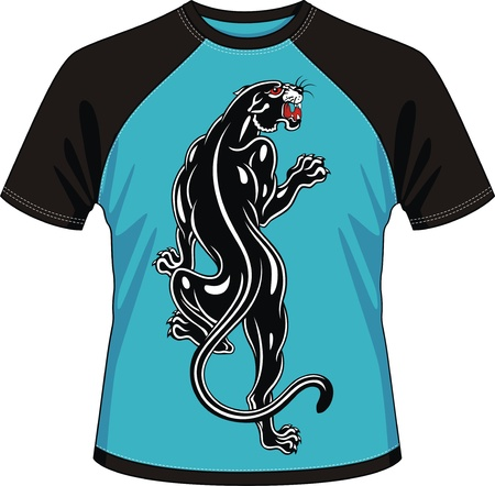 T-shirt with drawing in the form of a black panther Stock Vector - 12808983