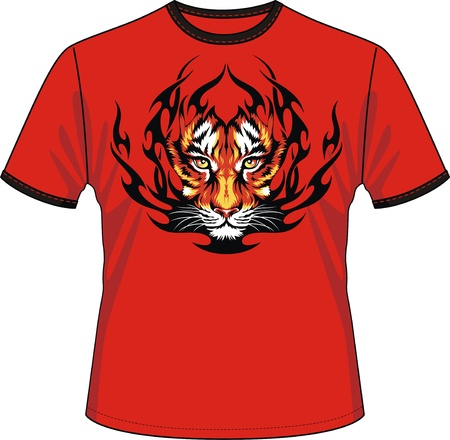 T-shirt with the image of a head of a tiger in tongues of flame Stock Vector - 12808990