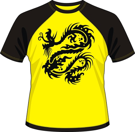 T-shirt with the image of the stylised dragon Stock Vector - 12808989