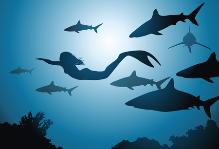The mermaid and flight of sharks float among reeves Vector