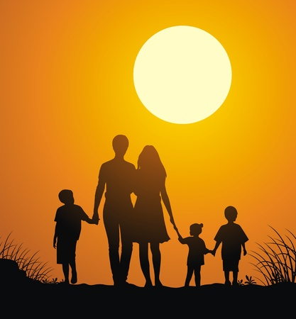gait: Family with children walk on a sunset