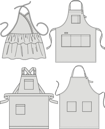 Apron with pockets, a shoulder strap and a belt