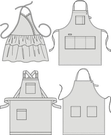 Schort met zakken, een schouderband en een riem