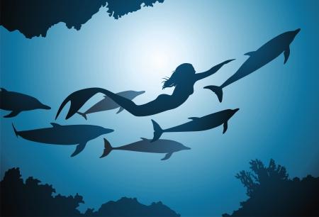 De zeemeermin en de vlucht van dolfijnen drijven onder Reeves