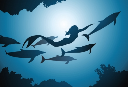 The mermaid and flight of dolphins float among reeves Illustration