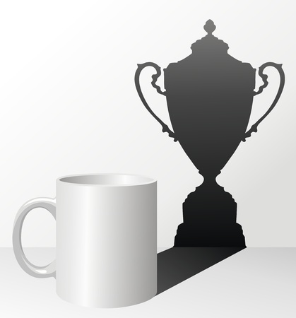 victorious: White cup with a shadow in the form of a victorious cup Illustration