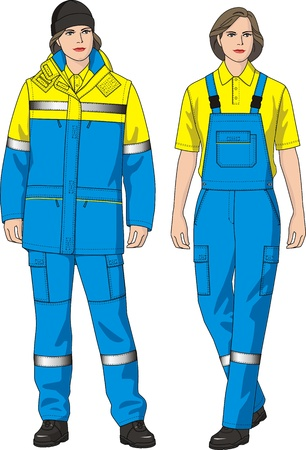 The clothes for women consist of a jacket and overalls